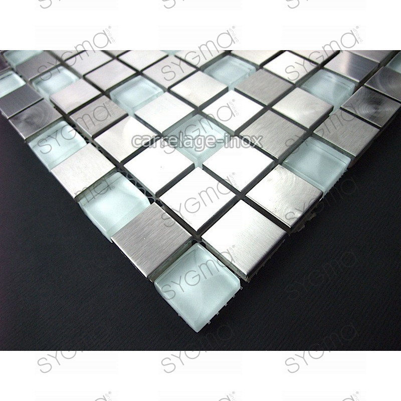 Mosaic and tiles in stainless steel and glass 1 m2 multi for Carrelage 1m 1m
