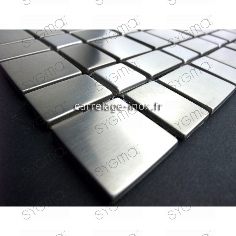 Mosaic stainless steel tile stainless steel metal f i l m for Carrelage inox cuisine