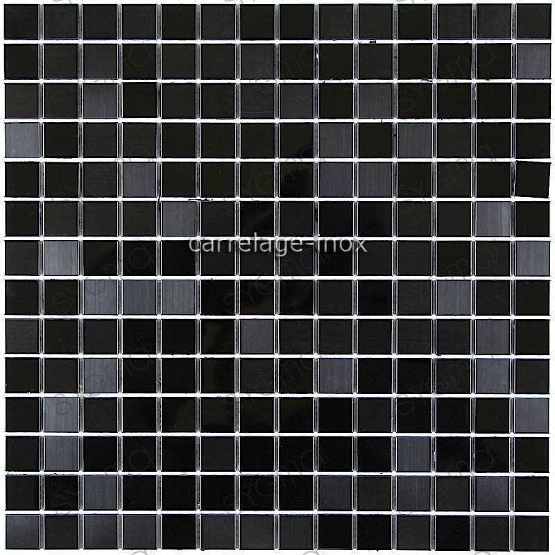 Carrelage inox mosaique inox credence faience miroir noir mix for Carrelage noir brillant pour sol
