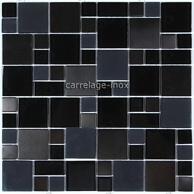 Splashback kitchen stainless steel 1m2 mosaic stainless for Carrelage 1m 1m