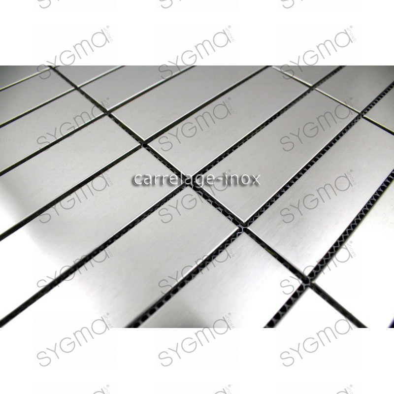 Plate mosaic stainless steel splashback kitchen stainless for Carrelage rectangle
