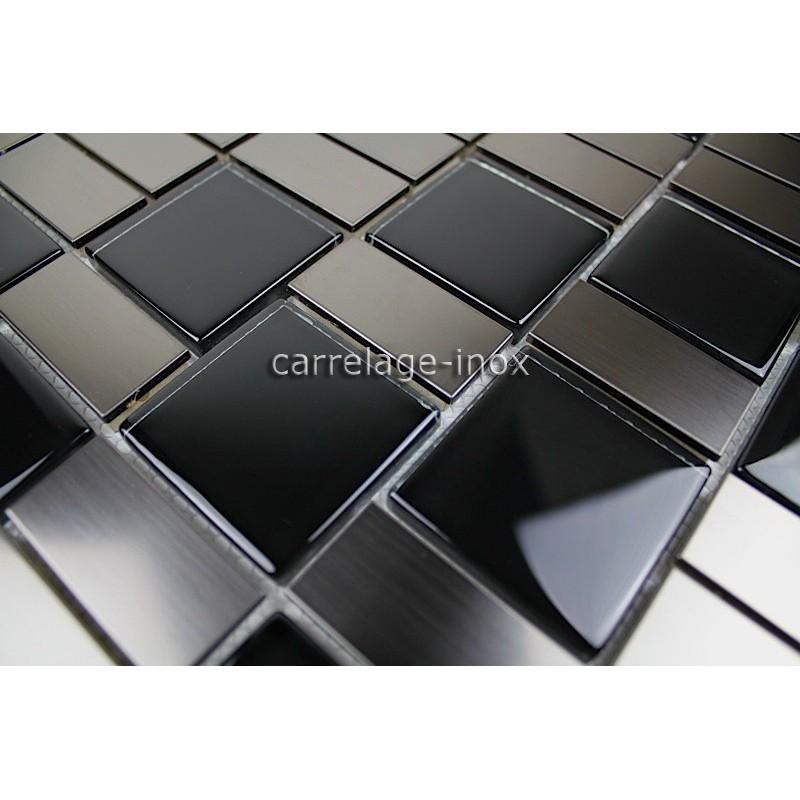 carrelage cuisine mosaique inox et verre noir modulo carrelage. Black Bedroom Furniture Sets. Home Design Ideas