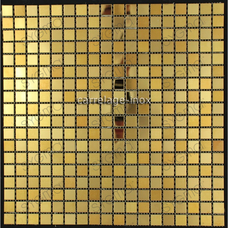 Carrelage inox dore mosaique faience gold mix 15 - Carrelage mosaique cuisine ...