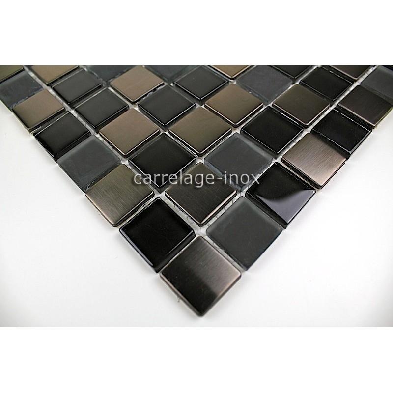Carrelage inox et verre mosaique inox et verre doblo noir for Carrelage inox