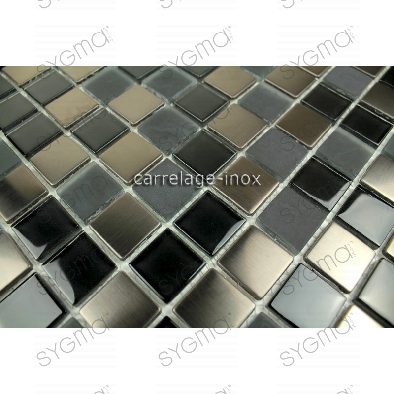 Splashback kitchen stainless steel and glass 1m2 mosaic for Carrelage 1m 1m
