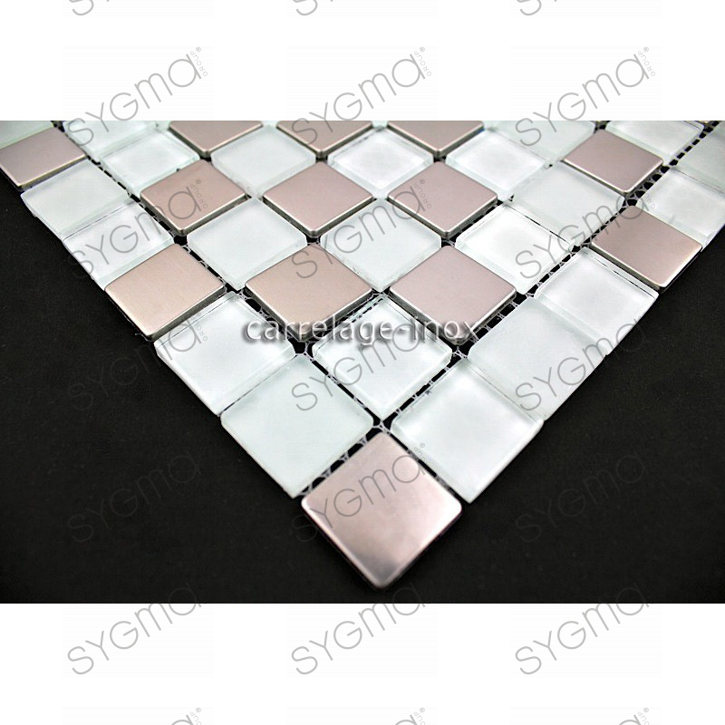 Tile stainless steel and glass mosaic doblo blanc for Carrelage 50x50 blanc