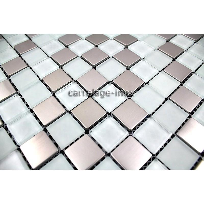 Carrelage inox et verre 1 m2 mosaique faience doblo blanc for Faience mosaique