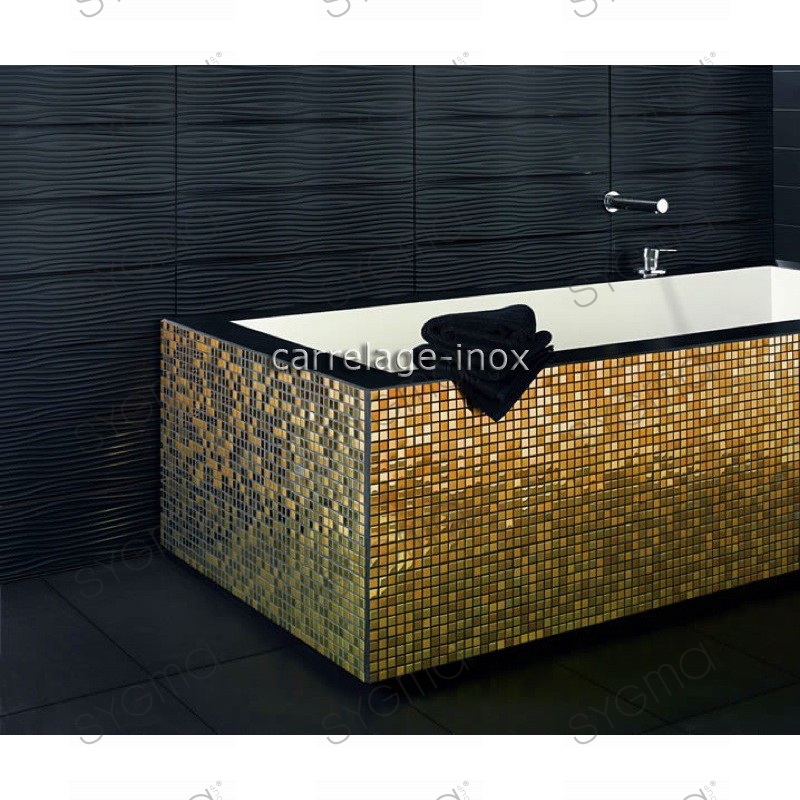 Tiled floors stainless steel dore mosaic faience gold mix for Carrelage inox fr