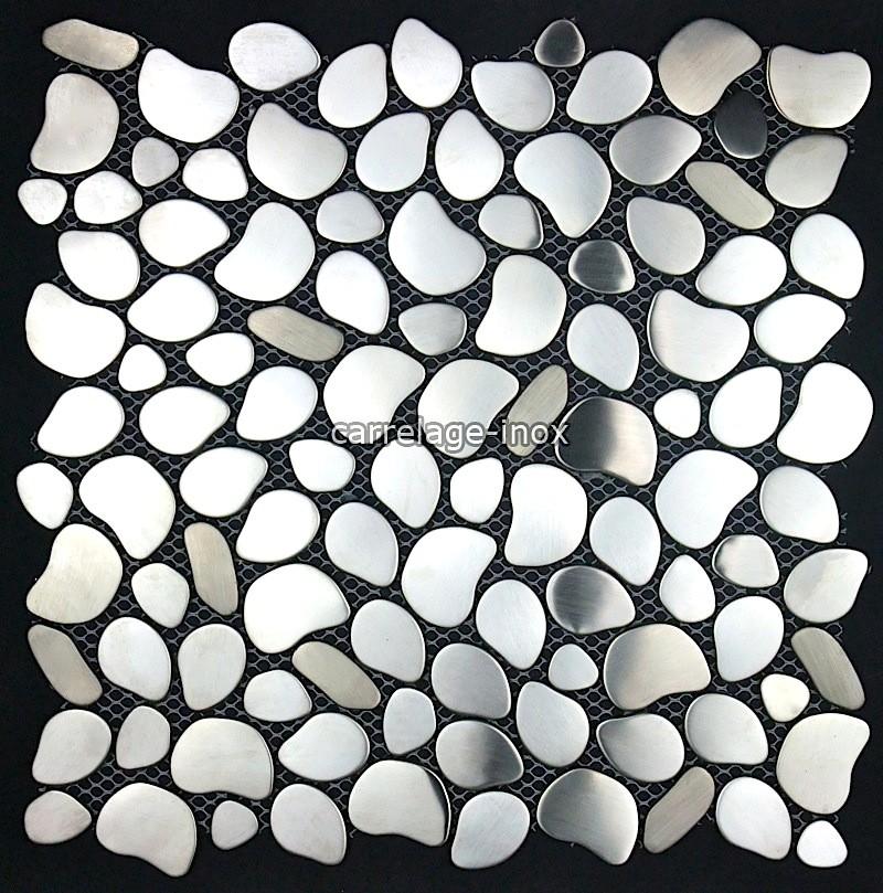 mosaique inox brosse et miroir - carrelage acier brossé pour mur