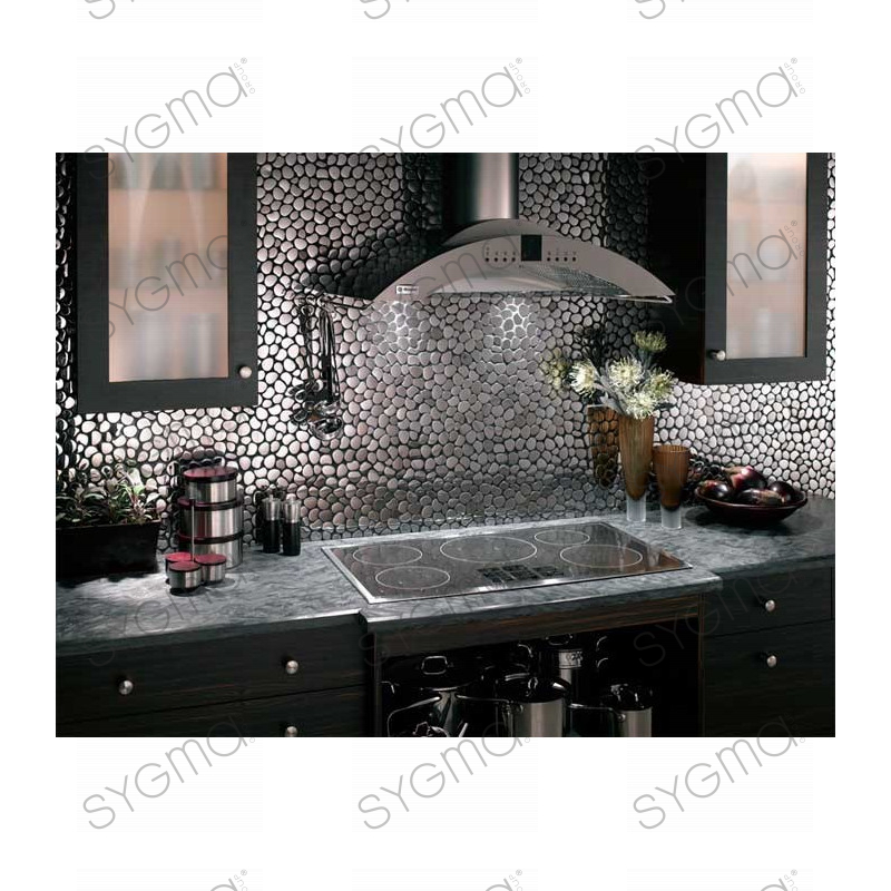 Mosaique inox cr dence cuisine inox sol douche galet for Credence imitation inox