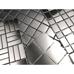 échantillon mosaïque inox aluminium verre nacre pierre bois