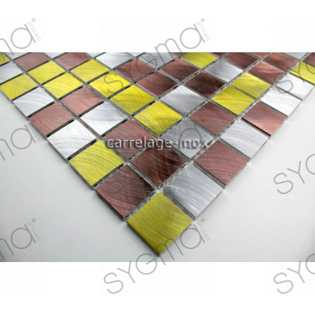Plate mosaic aluminium floor shower bathroom alu 25 golden for Linea carrelage