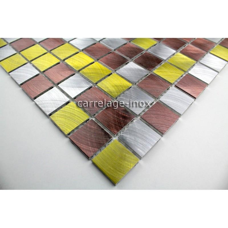 plaque mosaique aluminium sol de douche salle de bain alu 25 doré ... - Plaque Mosaique Salle De Bain