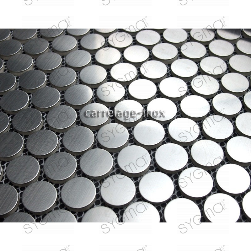 Tile mosaic stainless steel shower mosaic bathroom round for Carrelage inox credence