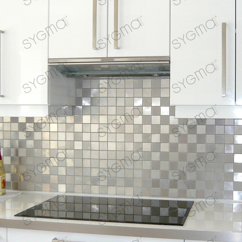 Mosaic Shower Tile Stainless Steel Splashback Kitchen Damier