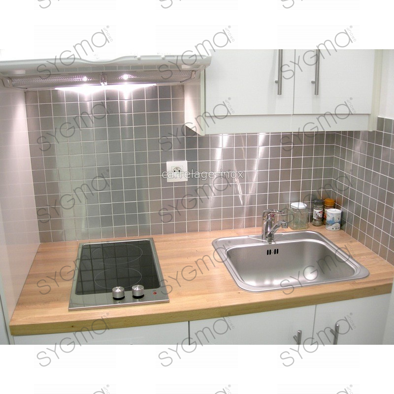 Tile stainless steel mosaic plan kitchen regular 48 for Carrelage inox fr