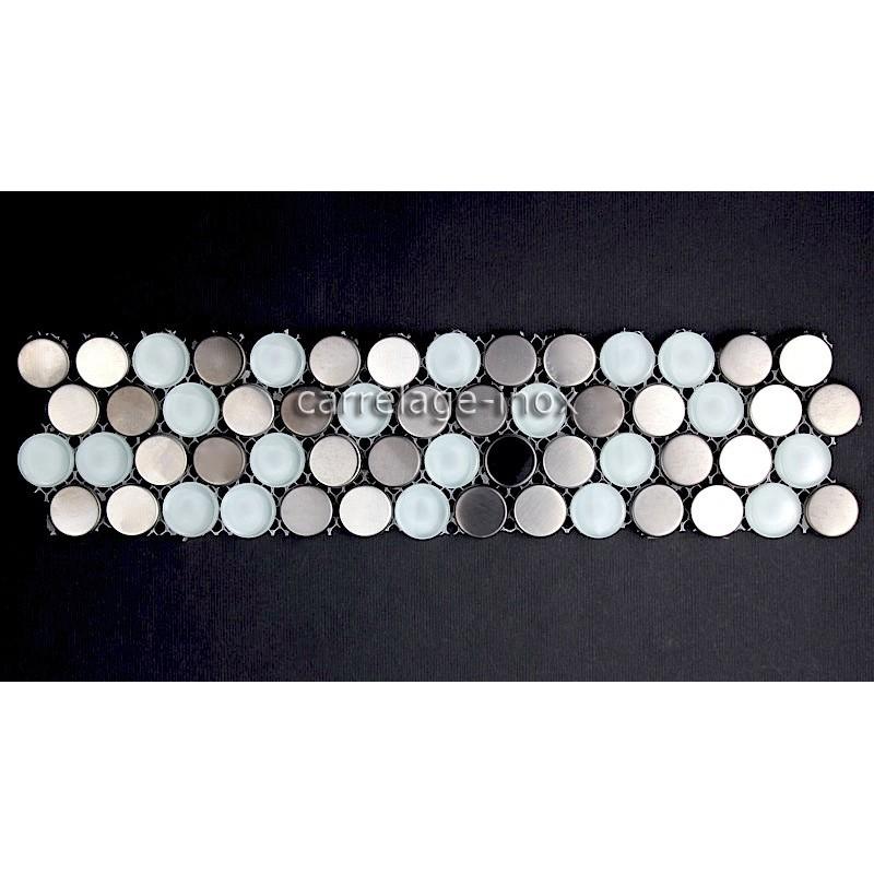 Listel inox mosaique carrelage frise acier metal multi round for Listel carrelage metro