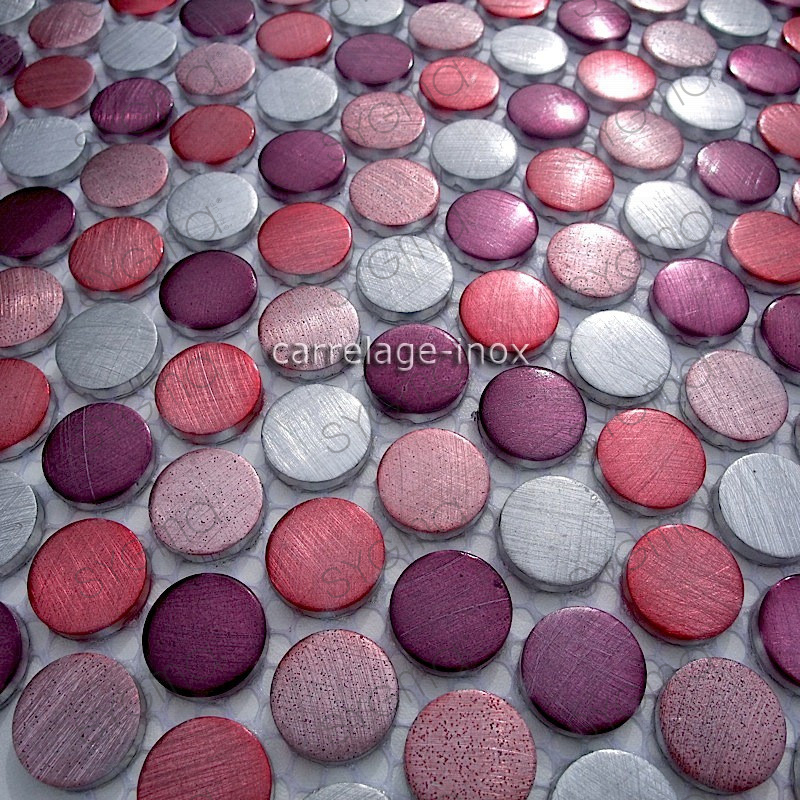 Mosaique Carrelage Aluminium 1 Plaque Circle Violet