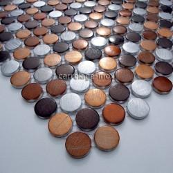 mosaique aluminium sol de douche salle de bain circle marron