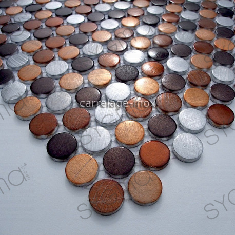 Mosaique aluminium carrelage 1 plaque CIRCLE MARRON