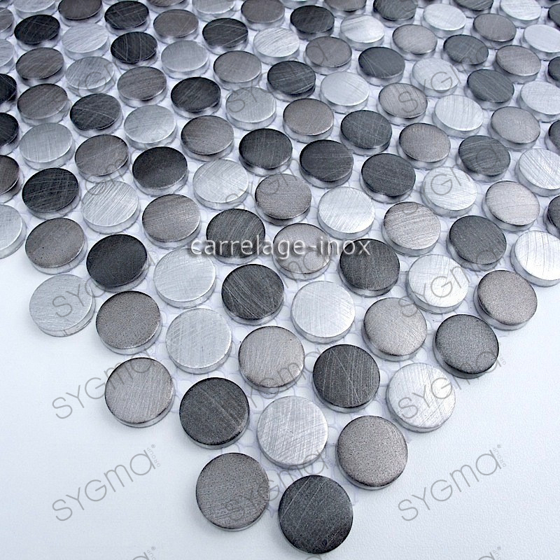 mosaique aluminium carrelage cuisine cr dence circle gris carrelage. Black Bedroom Furniture Sets. Home Design Ideas