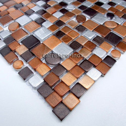 mosaic aluminum tile kitchen splashback trendy brown