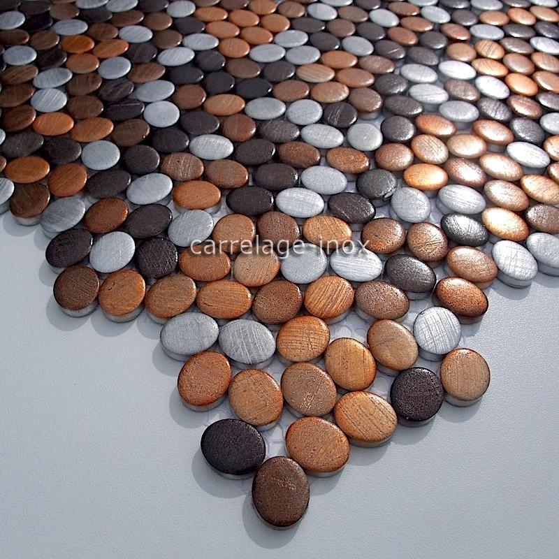 plaque mosaique aluminium sol de douche salle de bain oval-marron ... - Plaque Mosaique Salle De Bain