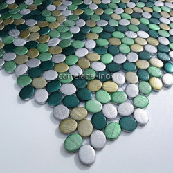 mosaic aluminum tile kitchen splashback oval green