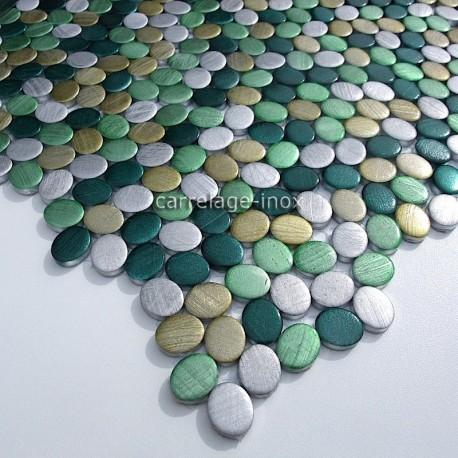 carrelage aluminium mosaique 1 plaque OVAL VERT
