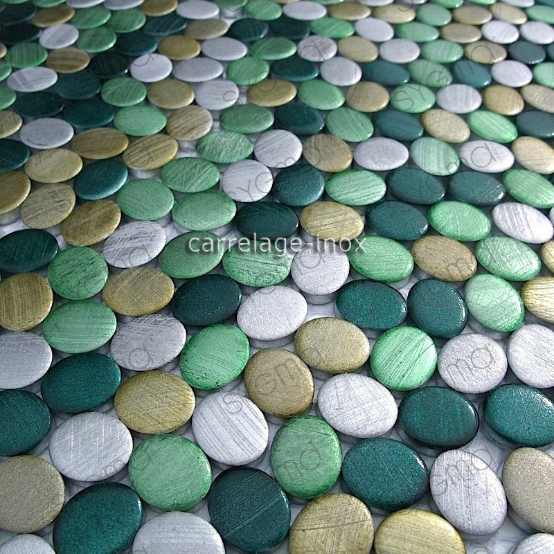 Mosaic aluminum tile kitchen splashback oval green for Mosaica carrelage