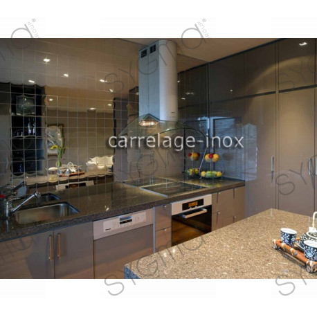 Tile mirror polished stainless steel mosaic credence for Carrelage inox cuisine