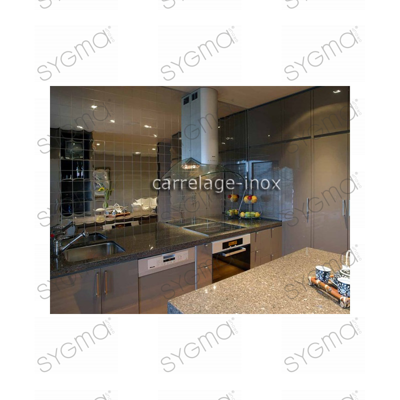 Tile mirror polished stainless steel mosaic credence for Credence cuisine carrelage