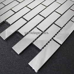 Mosaic polished stainless steel tile stainless steel faience kitchen BRIQUE64 MIRROR