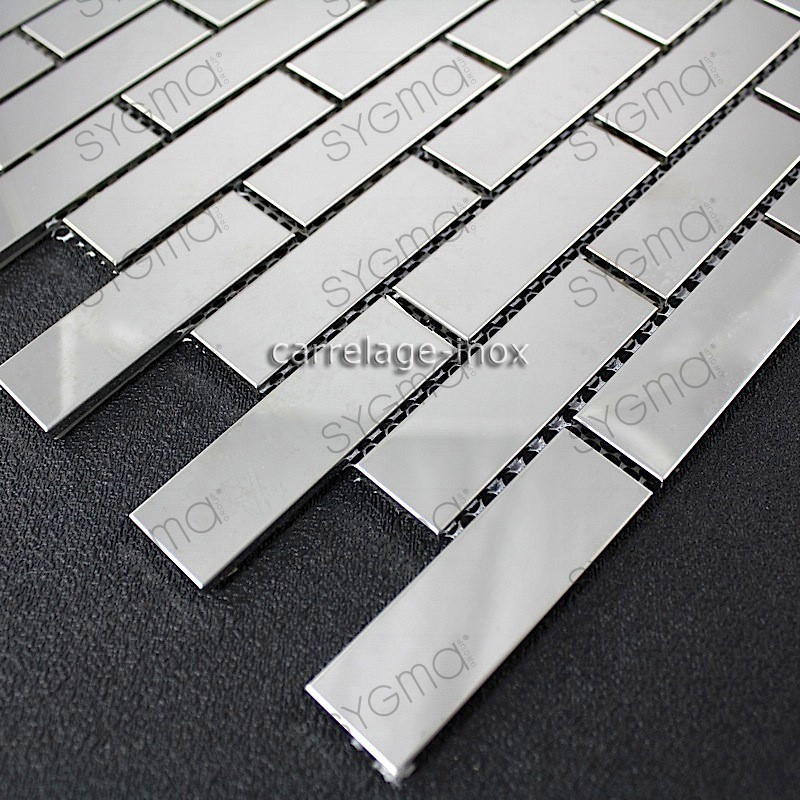 Mosaic polished stainless steel tile stainless steel for Carrelage mural mosaique