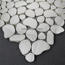 Mosaique inox poli miroir 1 plaque carrelage credence GALETMIROIR