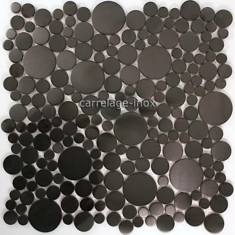 carrelage inox brosse noir mosaique salledebain Focus Noir