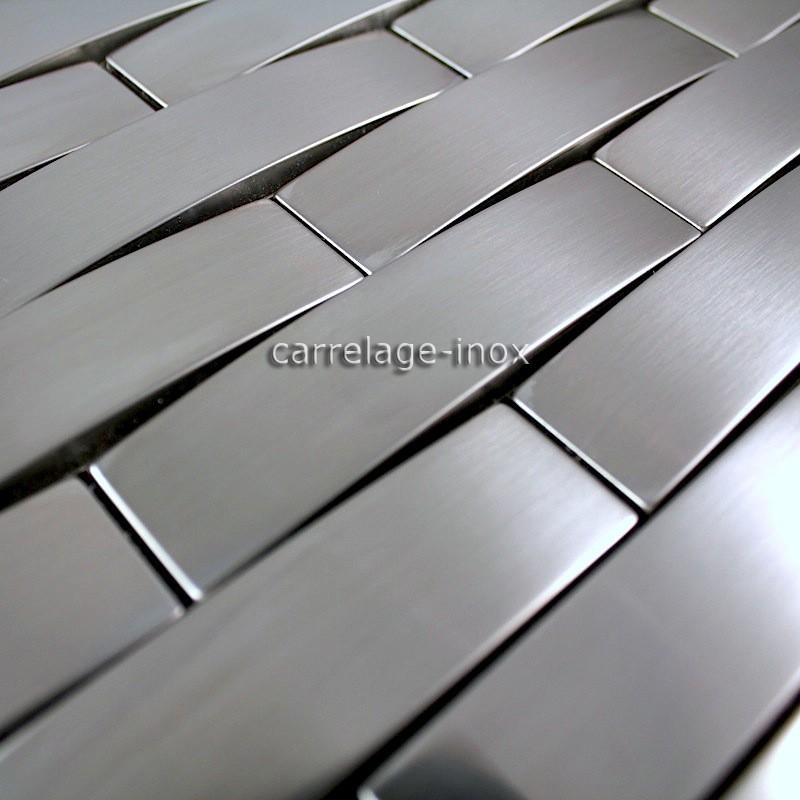 Mosaico de acero inoxidable de baldosas de acero for Azulejos de cocina de loza