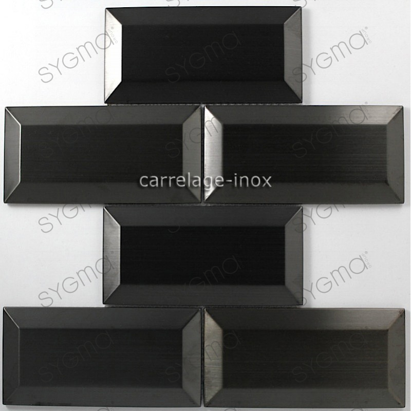 tile stainless steel mosaic splashback kitchen metro black. Black Bedroom Furniture Sets. Home Design Ideas