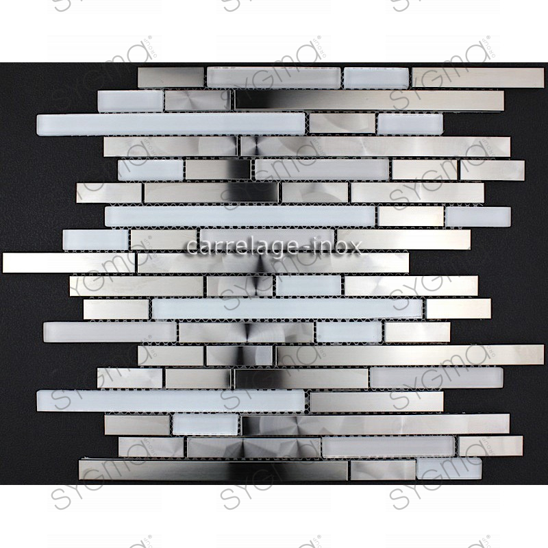 Mosaic stainless steel splashback kitchen mosaic shower for Carrelage inox fr