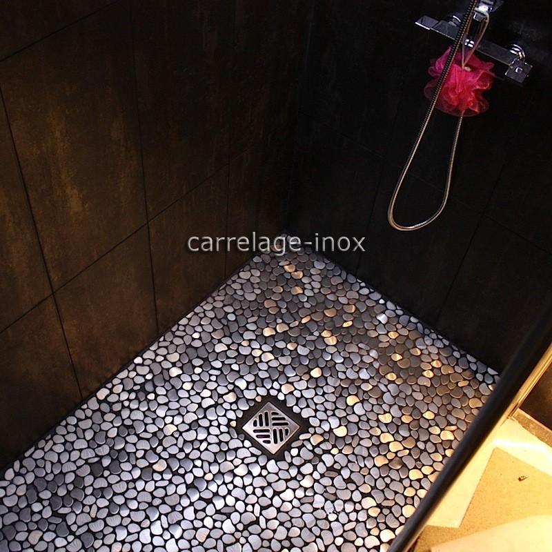 Mosa que inox 1m2 carrelage inox fond de hotte galet inox for Carrelage inox fr
