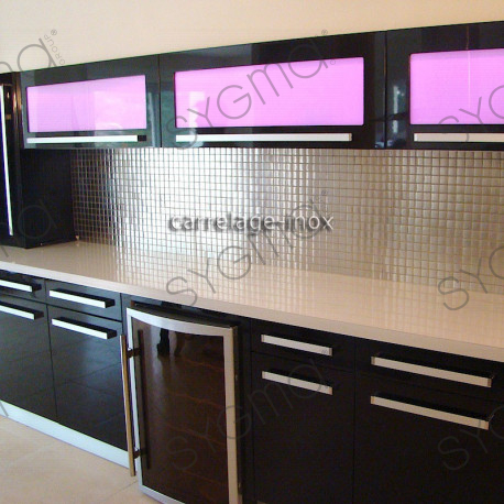 Mosaic stainless steel 1m2 splashback kitchen tiles - Renover carrelage cuisine ...