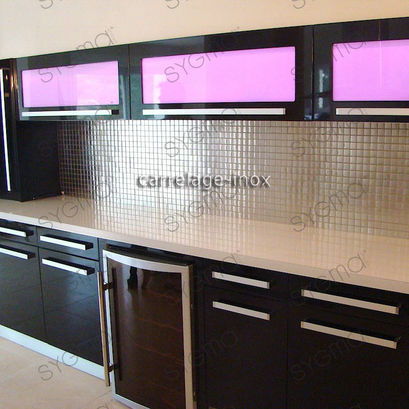 Mosaic stainless steel 1m2 splashback kitchen tiles - Modele de credence pour cuisine ...