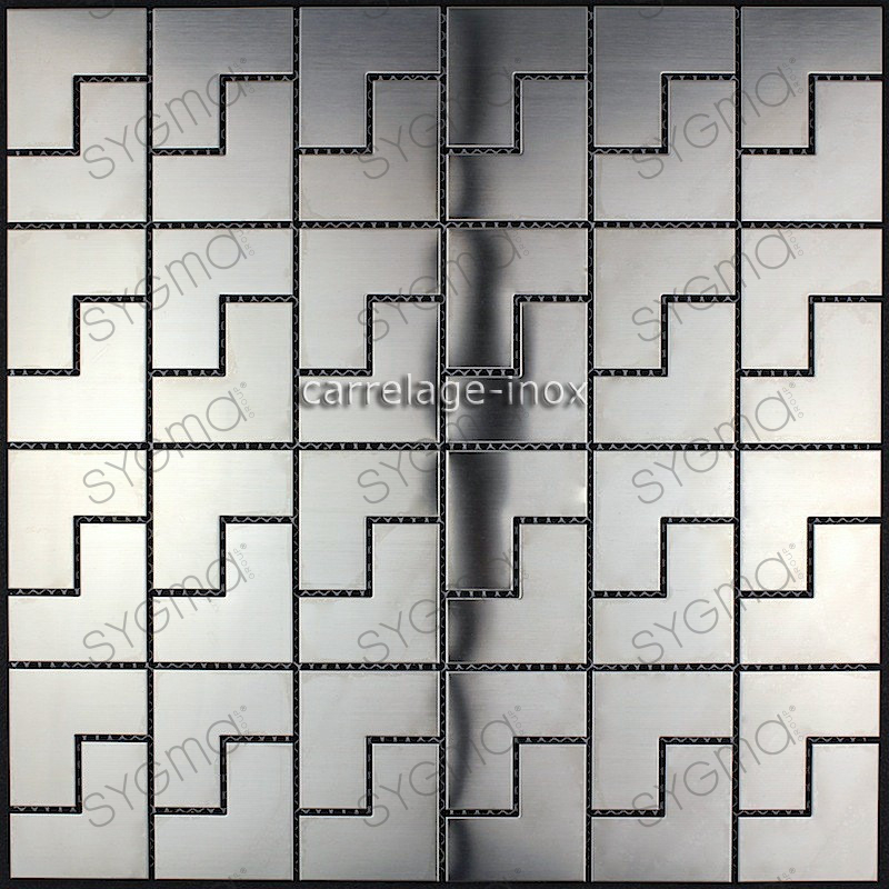 Mosaic stainless steel splashback kitchen mosaic shower for Plaque credence inox a coller