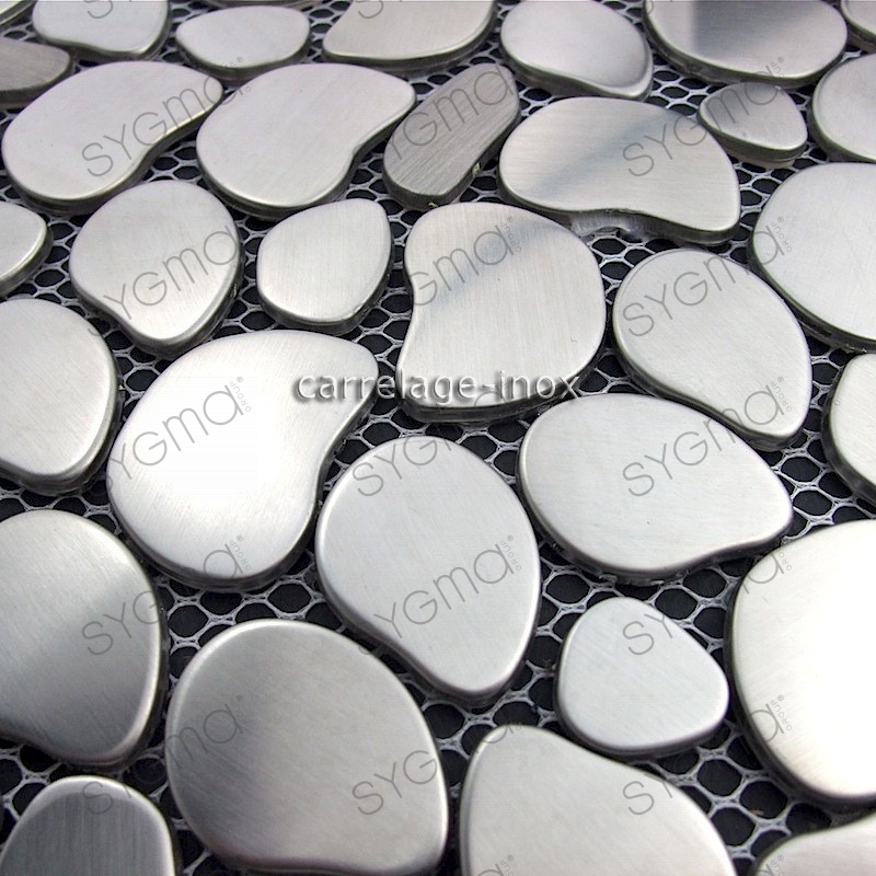 Plate mosaic stainless steel splashback kitchen floor for Linea carrelage