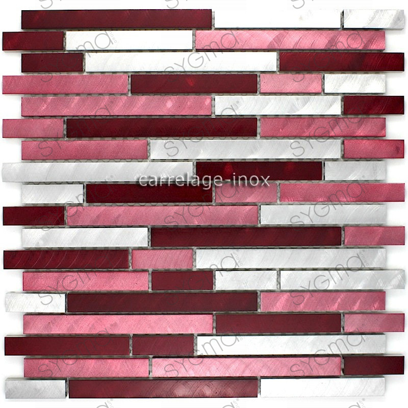 Mosaique aluminium carrelage cuisine cr dence blend rouge for Salle de bain carrelage rouge
