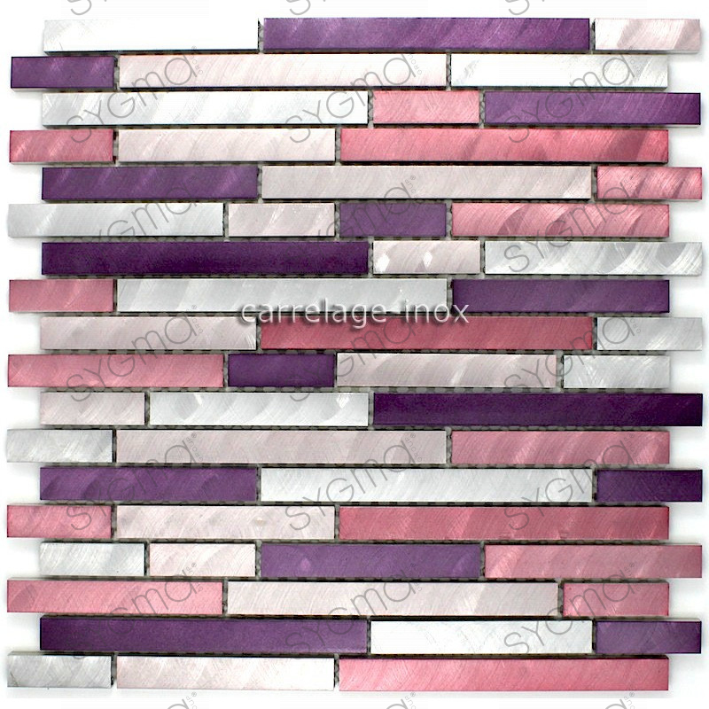 Mosaique aluminium carrelage cuisine cr dence blend violet for Credence inox a coller sur carrelage