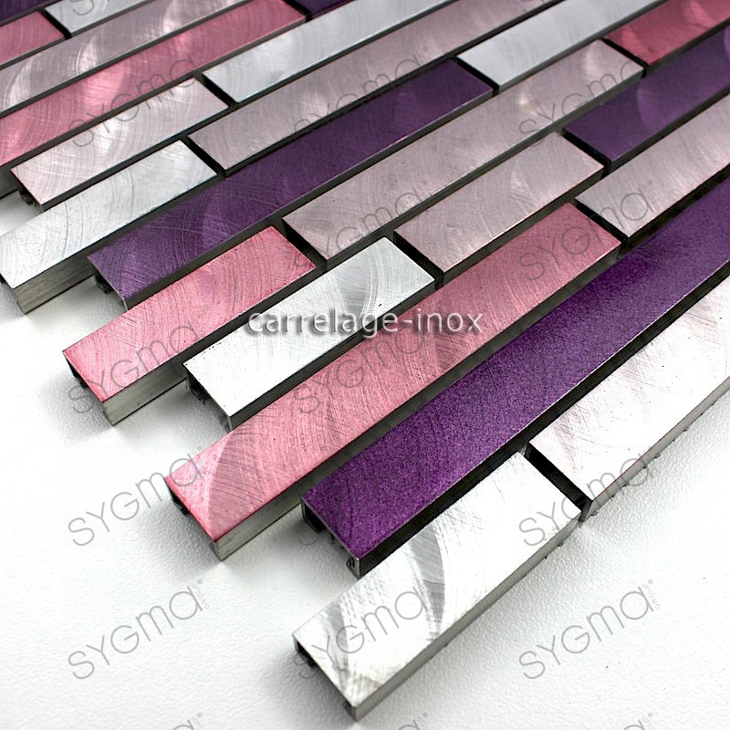 Mosaic aluminum tile kitchen splashback blend purple carrelage - Castorama plaque inox ...