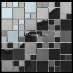 mosaic in stainless steel matte black and mirror splashback kitchen oken