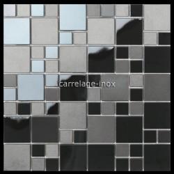 mosaico en acero inoxidable negro mate y espejo splashback cocina Eska