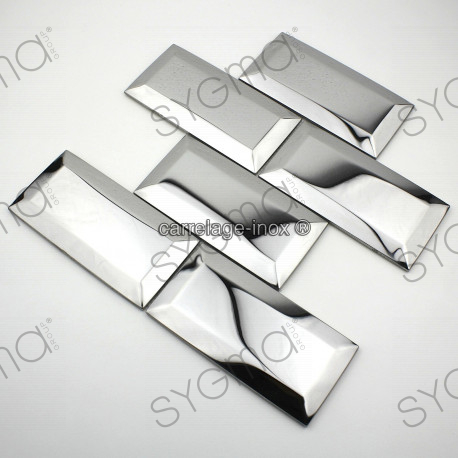 Tile stainless steel mosaic splashback kitchen metro mirror carrelage - Faience cuisine adhesive ...